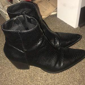 Free People Black Snake Skin Boots